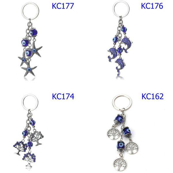 42 Styles Evil Eye Cartoon Lover Keychains Life Tree Pendants Unisex Fashion Accessories Blue Eyes Car Keychains Mix order