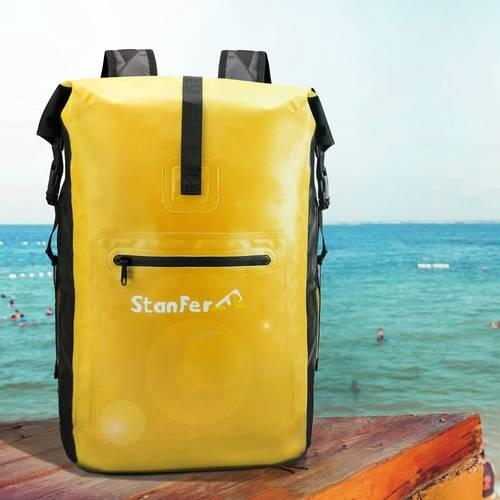 30L Waterproof Dry Backpack with Welded Seams,Padded Back Support Cushioned Straps & Splash Proof Outer Zip Pocket diving outdoor bag