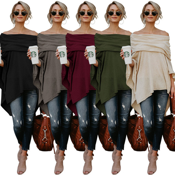 Lady sexy T-shirt shirt gown women plus size sexy solid color slash neck batwing sleeve asymmetrical Top Tee S-2XL