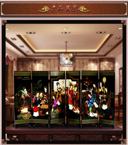 Chinese classical characteristics antique lacquer six-side small screen business gifts
