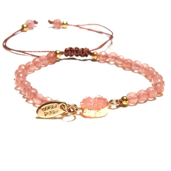 Braccialetto di cristallo rosa Braccialetti di pietra naturale sfaccettati piccoli Braccialetti di goccia di acqua di luna del cuore Bracciali intrecciati Braccialetti fatti a mano