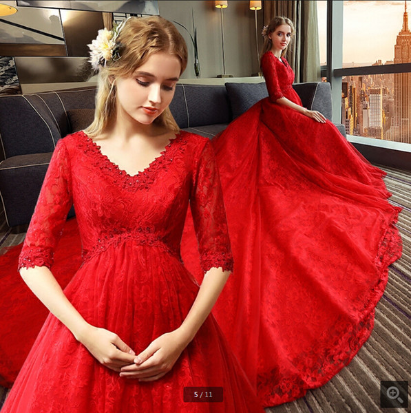 Robe de mariage red white lace ball gown wedding dress half sleeve plus size empire maternity princess corset modest women bride gowns 2019
