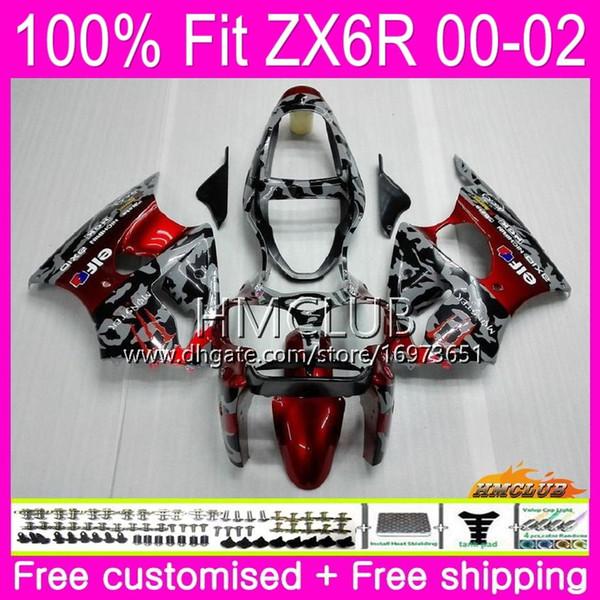 Inyección para KAWASAKI NINJA ZX 600 CC 6 R ZX636 ZX6R 00 01 02 58HM.0 ZX 636 ZX-6R 00 ZX-636 ZX 6R 2000 2001 2002 OEM Carenado Camuflaje rojo