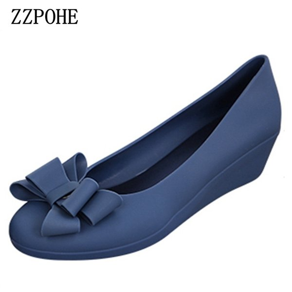 Designer Dress Shoes ZZPOHE spring autumn new women fashion mid heels woman wedge single Women Work Pumps free shipping