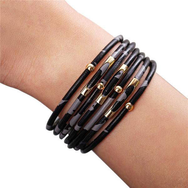 Wrap браслеты для женщин Leopard Кожа Цвет нескольких слоев Charm браслет партии ювелирных изделий способа аксессуары