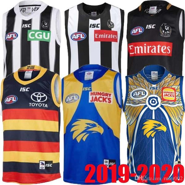novo 2019 2020 West Coast Eagles Guernsey Adelaide Crows Collingwood Magpies casa Eddie Betts 300 sem mangas melhor qualidade AFL jersey