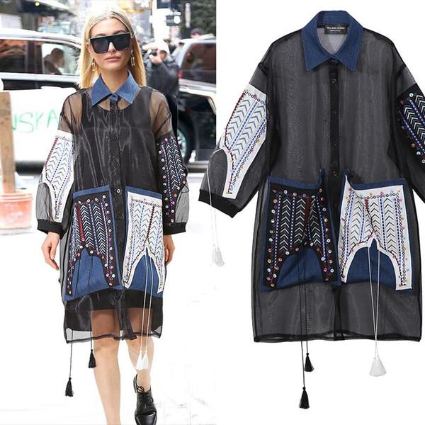 2019 euro fashion summer schwarz mesh dress große tasche langarm plus größe weibliche stilvolle lose party club dress midi stil f219
