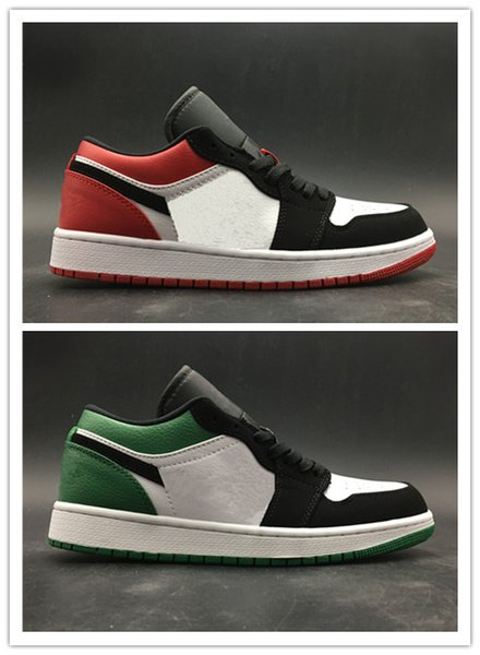 Wholesale with box 2019 New green black toe 1s men women Low basketball shoes outdoor trainers top quality free shipping size 5.5-12