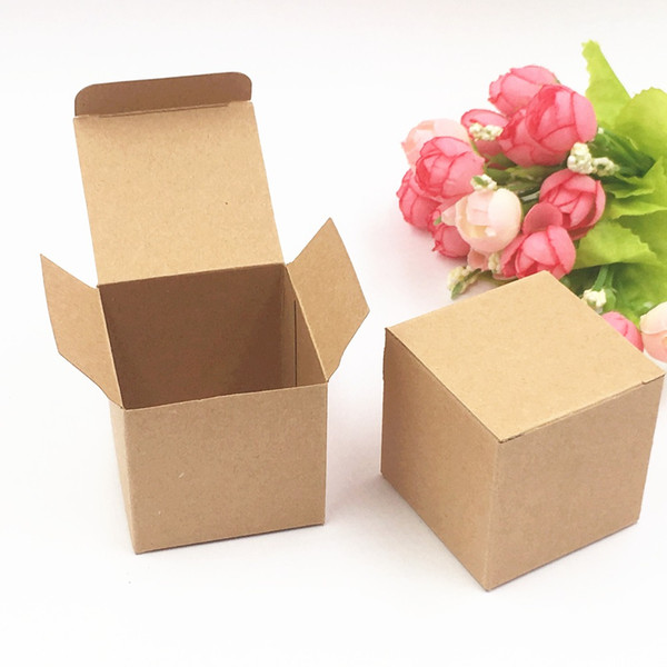 200pcs Kraft Paper Candy Box Square Shape Wedding Favor Gift Party Supply Packaging Bag with Burlap Twine Chic