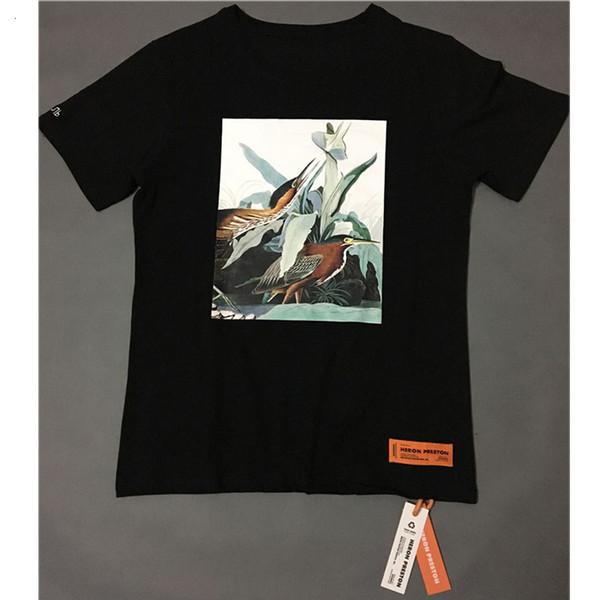 Heron Preston tişört Erkek Kadın 1: 1 Londra Moskova Heron Preston Tişörtlü O-Boyun Vinç DSNY Turuncu Top Tees Heron Preston T Gömlek