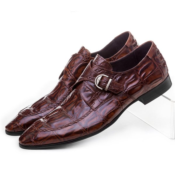 Crocodile Grain Brown Tan / Black Mens Dress Shoes Genuine Leather Wedding Shoes Casual Male Business Shoes With Buckle