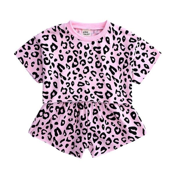 Set di pantaloncini leopardo per ragazze 2019 nuovi accessori per capelli a due pezzi manica corta oceano coreano estate 2019