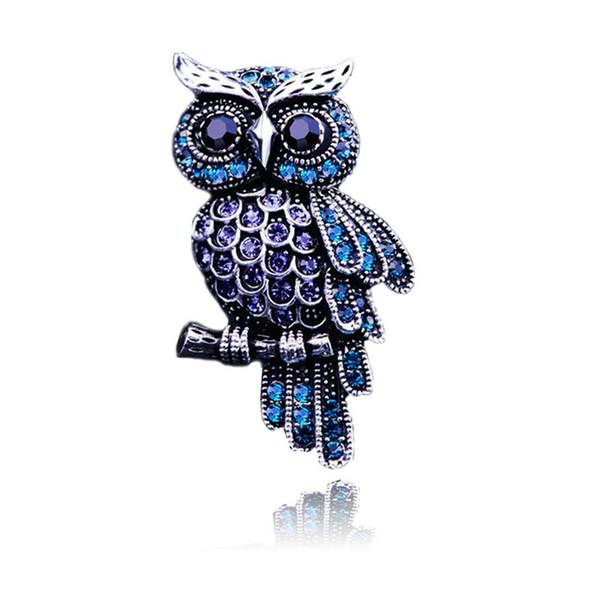 Oro Argento placcato Spilla Animal Owl per Silver uomini delle donne di cristallo del Pin Spilla placcato regalo San Valentino