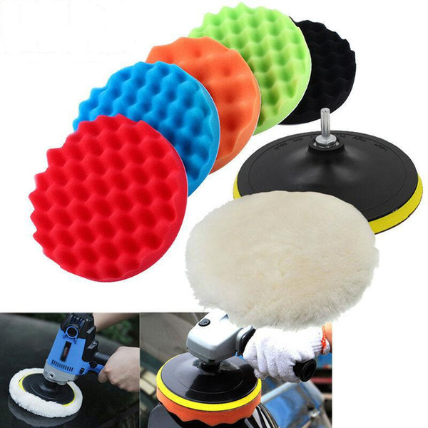 best selling 8Pcs Set Car Polishing Pad 3 4 5 6 7 inch Sponge Buffing Waxing Boat Car Polish Buffer Drill Wheel Polisher Removes Scratches