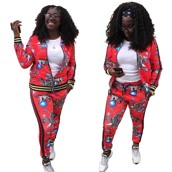 Women Sport track Suits Tracksuits Sweatshirts Casual Sportwear Zipped jacket Pants Set Autumn Winter Women Fashion Print Jogger