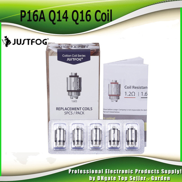 best selling Original Justfog Coil Head 1.2ohm 1.6ohm Organic Japanese Replacement Coils OCC for C14 P14A P16A Q14 Q16 Starter Kit 100% Authentic