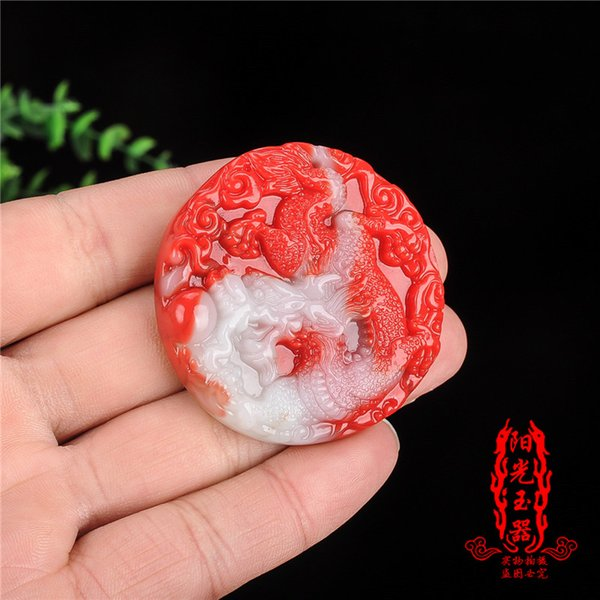 Free shipping Natural chicken blood jade dragon pendant men and women and Tian Yulong pendant gold silk jade dragon jade necklace pendant