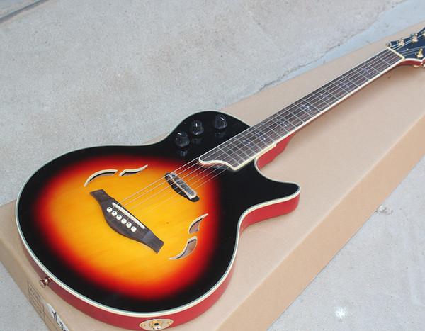 Frete grátis, Fábrica Semi-oco Sunburst Guitarra Elétrica com Rosewood Fretboard, Hardware de Ouro, Branco Vinculativo Corpo e Pescoço, pode ser Customiz