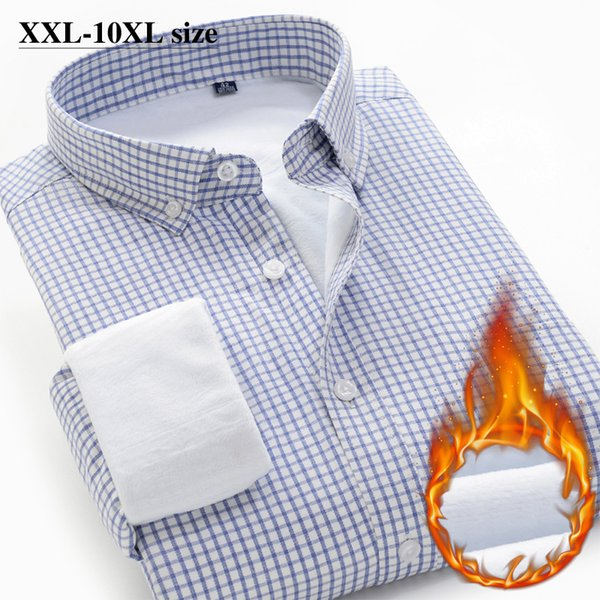 plus zise 6xl 7xl 8xl 9xl 10xl men plaid thick warm shirt new winter business casual fleece long sleeve shirt male brand clothes