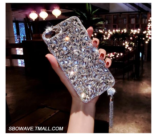 Shinning Quaste Volle Diamant-rückseitige Abdeckung Shell Verfärben Strass Telefon Fall Farbverlauf für iPhone6 7 8 plus max für Samsung Note8 S9 S8