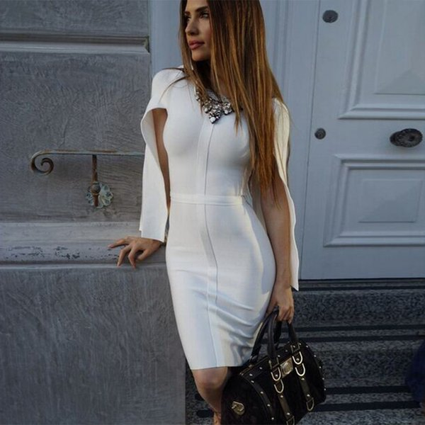 2018 New Summer Bandage Dress Women Celebrity Party White Batwing Sleeve O-neck Elegant Sexy Night Out Club Dress Women Vestidos Y19041001