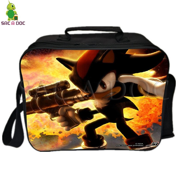Super Sonic Wolf Lunch Bag with Ice Pack Thermal Insulated Bag Picnic Camping Shoulder Fresh Keeping Ice Cooler