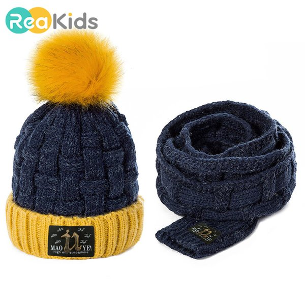 REAKIDS Fashion Winter Children Hat Scarf Set Pom Ball Warm Cotton Cut Beanies Baby Hat With Scarf Cap For Girls Boys Unisex CJ191213