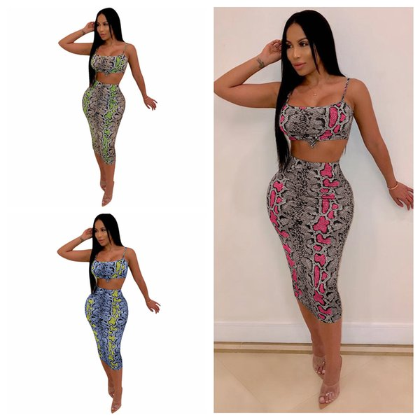 Snake Vest Bodycon Dress Women Dyeing Print Sleeveless Bra Crop Vest Tank Mini Skirt Sets Party Tracksuit 30sets O-OA6501