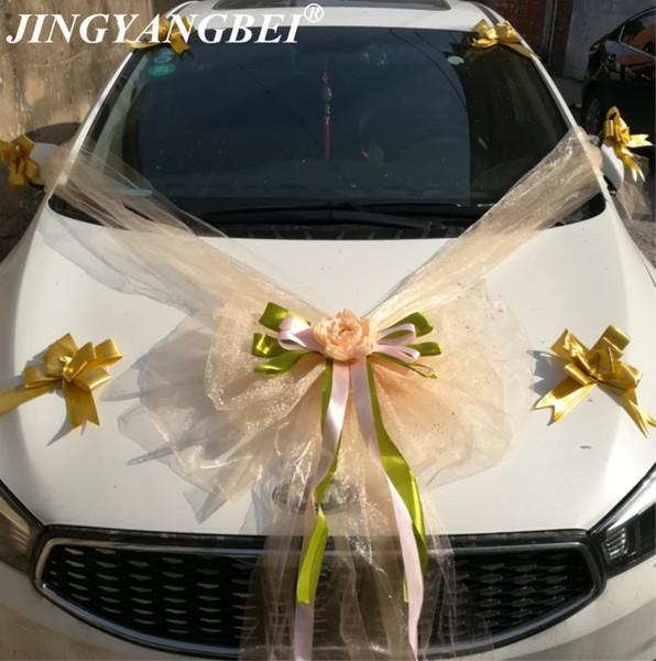 Tulle Bowknot mesh Silk Peony Rose Ribbon bow Wedding Car flower set Decoration Wedding Supplies C18112601