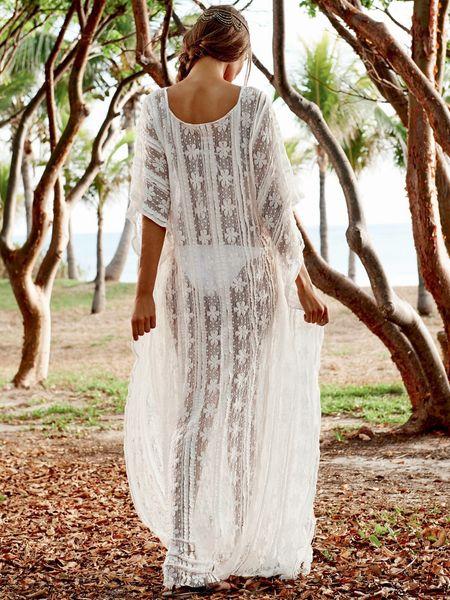 Kimono robe de plage Beach Wear robe de lune de miel lingerie de mariée maxi robe Beach cover up plage caftan caftan