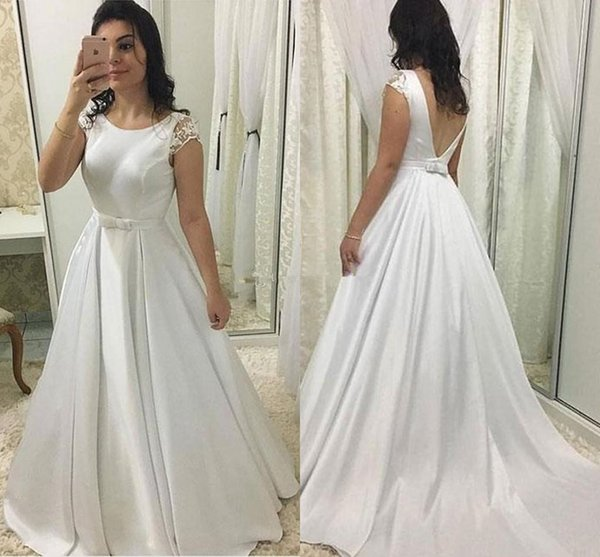 Elegant A Line Wedding Dresses With Lace Cap Sleeves Jewel Neck Satin Bridal Gowns Belt V Backless Sweep Train Simple Dress Custom Made