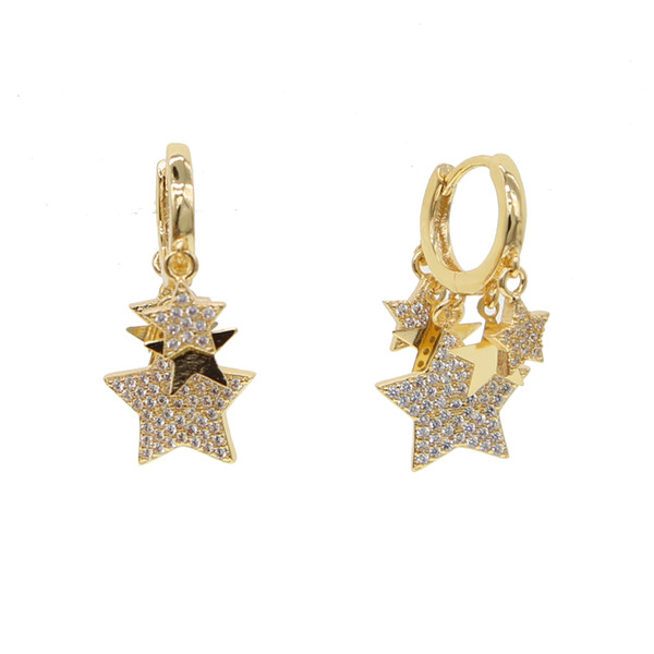 Ladies Gold silver plated Small Hoop Earrings With cz star lovely Charm Pendant Women's Minimalist Fashion Hoop Earrings