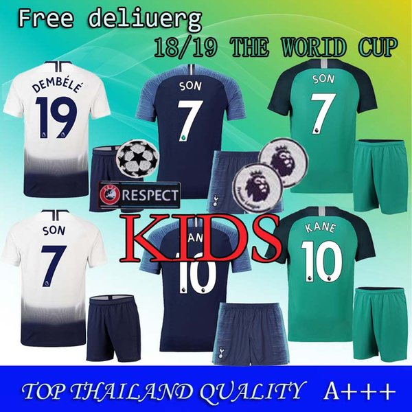 designer fashion 8a870 9e540 2018 KIDS 18/19 Spurs Kids Kit + Socks Jerseys Home Away Third White Green  Soccer Jersey 2018 2019 KANE DELE ERIKSEN SON Away Blue Football Shirt From  ...