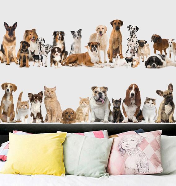Einzelhandel 60 * 90 cm cartoon tier wohnkultur wandaufkleber katze hund sockel wandaufkleber schlafzimmer hintergrund dekoration wasserdichte aufkleber aufkleber
