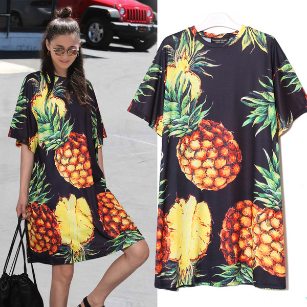 Style Korean Summer Women Pineapple Printing Casual Beach Dress Black Pink Sundress Short Sleeve Cute Midi Sun Dress 2163 designer clothes