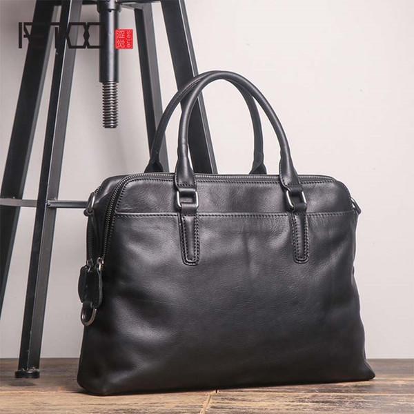 c08b95513060 AETOO Новый портфель высокого качества мужская кожаная сумка для ноутбука  верхний слой кожи случайный диагональ плеча большой бизнес-портфель # 593410
