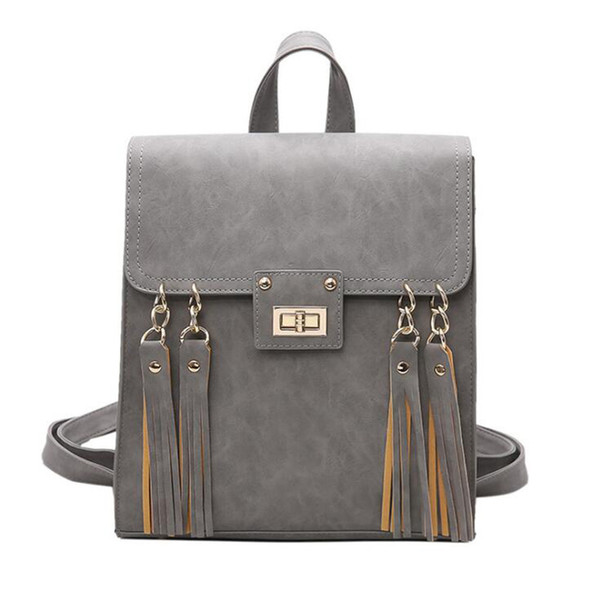 2019 Fashion Backpack Tassel Women Backpack Pu Leather School Bag Women Casual Style A4 Paper Women Black/brown/gray Backpacks