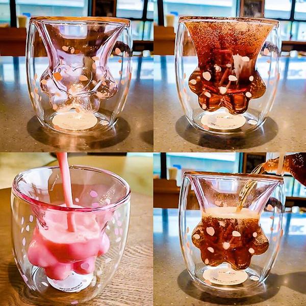 12oz brand Cat Claw Paw Cup Double Wall Glass Coffee Mug Handmade Creative Milk Beer Juice Tea Whiskey Glass Cups 12PCS AAA1873