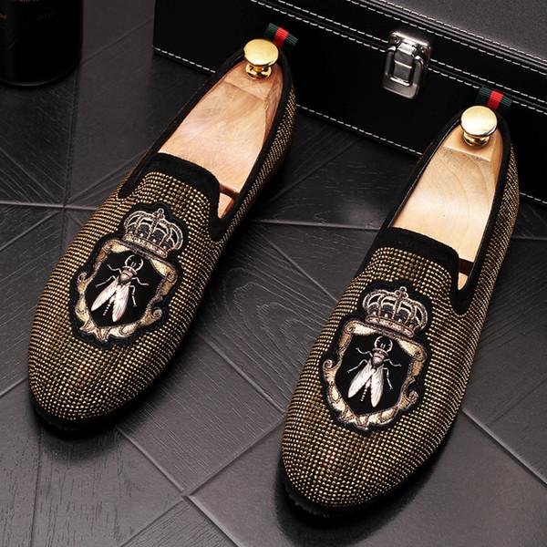 Mocassini da uomo in pelle scamosciata da uomo strass casual Strass ricamati Mocassini scarpe uomo scarpe da guida per feste Scarpe eleganti
