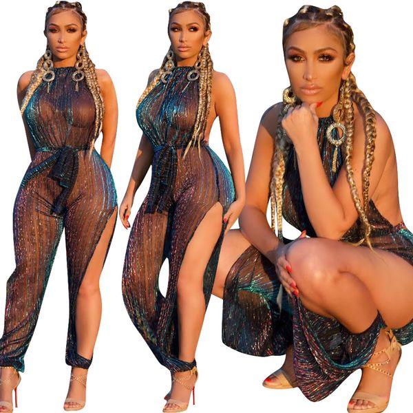 3701 European and American summer women's hanging neck sleeveless mesh gauze jumpsuit nightclub with belt fashion explosion bodysuit women