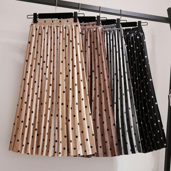Pleated Skirts Women 2019 Spring Saia Midi High Waist Faldas Mujer Moda Plus Size Jupe Femme Vintage Velvet Dots Ladies Skirt MX190717