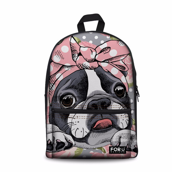 Customized Casual Backpack Female Large Laptop Bagpack Women Boston Terrier Bowtie Printing School Backpacks for Teen Girls Bag