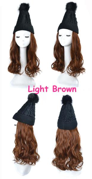 pelo de la onda de color marrón claro peluca negro
