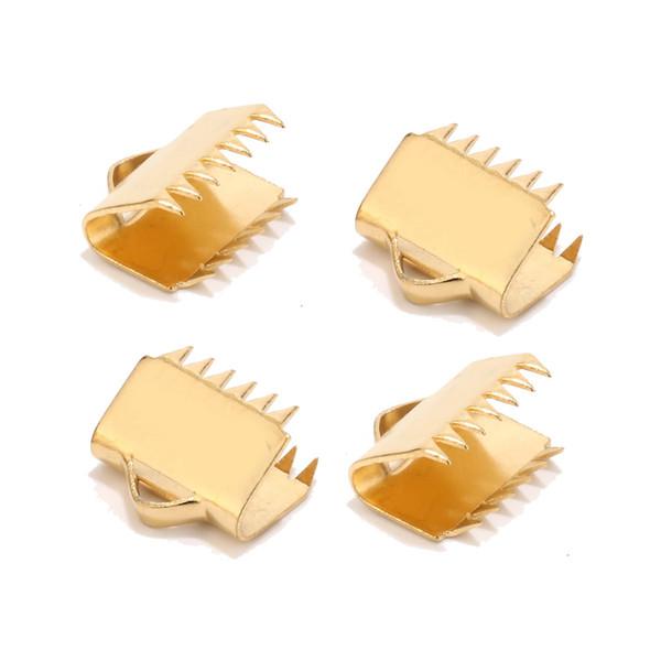 10pcs 10.5mm in acciaio inossidabile tono oro clip del nastro morsetto cord crimp end cap punta collana connettore bracciali con i denti
