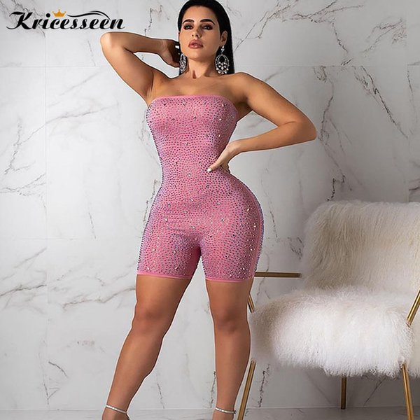 Kricesseen Sexy Pink Strapless Crystal Embellished Playsuit Outfits Womens Rhinestone Details Skinny One Piece Jumpsuits Rompers
