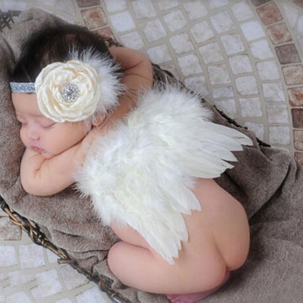 Alas de plumas blancas recién nacidos del bebé con las alas del ángel diadema recién nacido apoyos de la fotografía de la niña de pelo accesorios HB260
