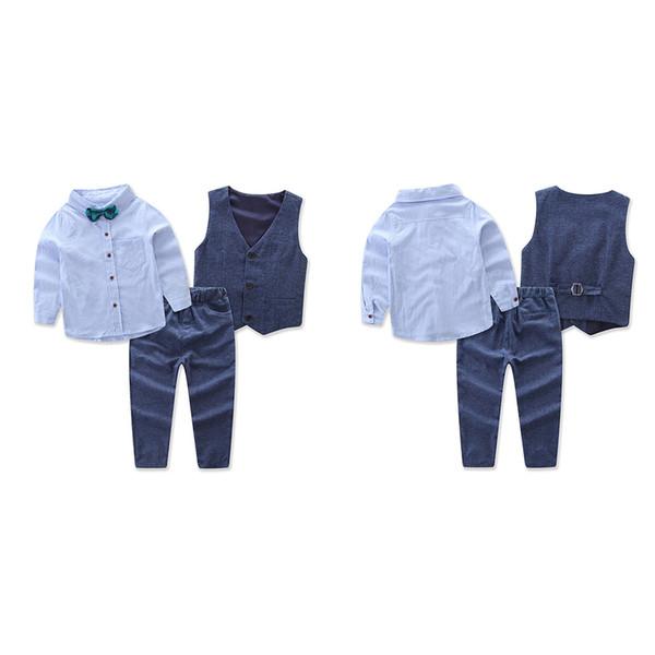 3 Pçs / set Conjunto de Roupas Roupas Conjuntos de Roupas Meninos Crianças Colete Colete + Camisa + Calça Crianças Gentleman Terno de Casamento Ternos de Baile de finalistas
