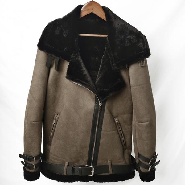 Винтажная мода Мужская меха Подкладка пальто осень зима теплая мужская Fur кожаные куртки Пальто толстое пальто мужчин плюс размер 4XL A318