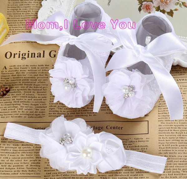 Ivory Newborn Booties Christening Shoes For Baby Girl;infant Headband Set Toddler Baby Shoes Ballerina; Girls Baptism Set Y19051504