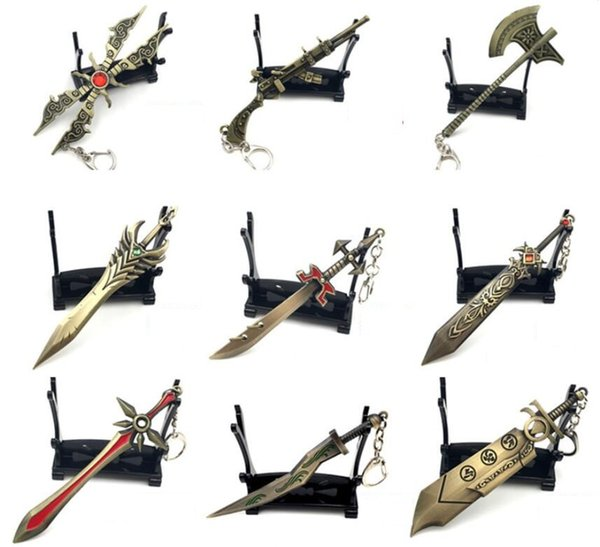 20pcs Various style Key buckle LOL Game League Of Legends Weaponry Model Key chains Blade Master Pendant alloy Metal Galen's Sword Key Ring